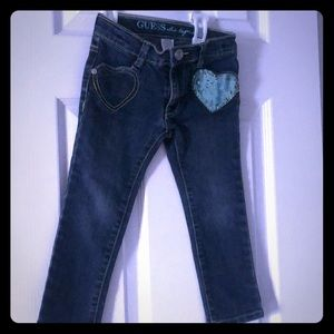 Guess blue jeans w/ adjust waist and green sequin